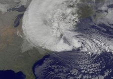 Hurricane Sandy at 2012-10-29 09:10 (NASA GOES Project)