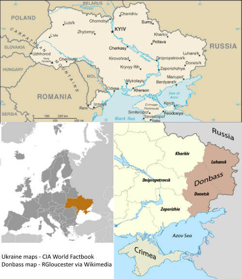 Map of Crimea and the Donbass region of Ukraine