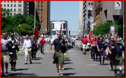 Bagpipe corps leads Million Signature March -- ProgressOhio.org