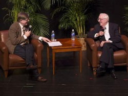 retired-Justice John Paul Stevens (right) at University of Florida, 2015-01-20 (credit: Julian Pinilla/UF Law School)