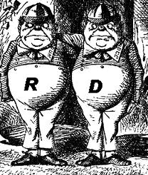 Tweedledum - R and Tweedledee - D